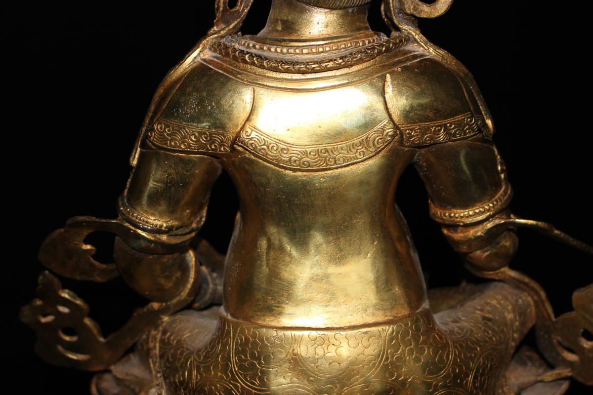 【03SDW1813】中国古董品 明時代 鍍金 財神 佛像 擺件 手彫 精美彫 秀作 中国古美術 唐物古玩 古皿 風水開運 置物 古董品 古玩 收藏品_画像10