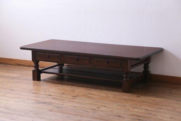 R-034533 中古 特注品 松本民芸家具 引き出し付き 高級感のあるローテーブル(センターテーブル、座卓)_画像1