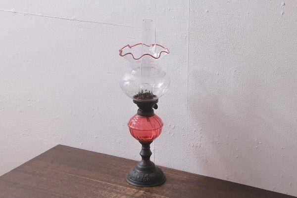 R-041183 アンティーク 明治大正 グラビュール(グラヴュール) 金魚鉢型 チューリップ型 赤縁 フリルガラス オイルランプ(洋燈、台ランプ)_画像1