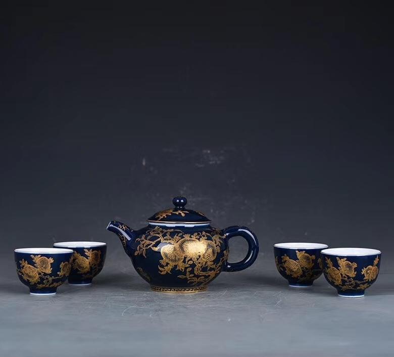 ★古寶堂★蒐集【0202-4】『清時代・雍正霽藍釉描金多子石榴紋茶具』中国古董品 賞物 置