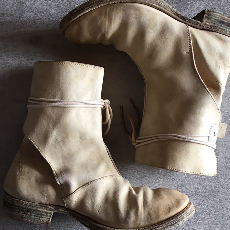 AUGUSTA Horse Leather White Boots 6, a1923, a diciannoveventitre, オーガスタ ブーツ レザー_画像1