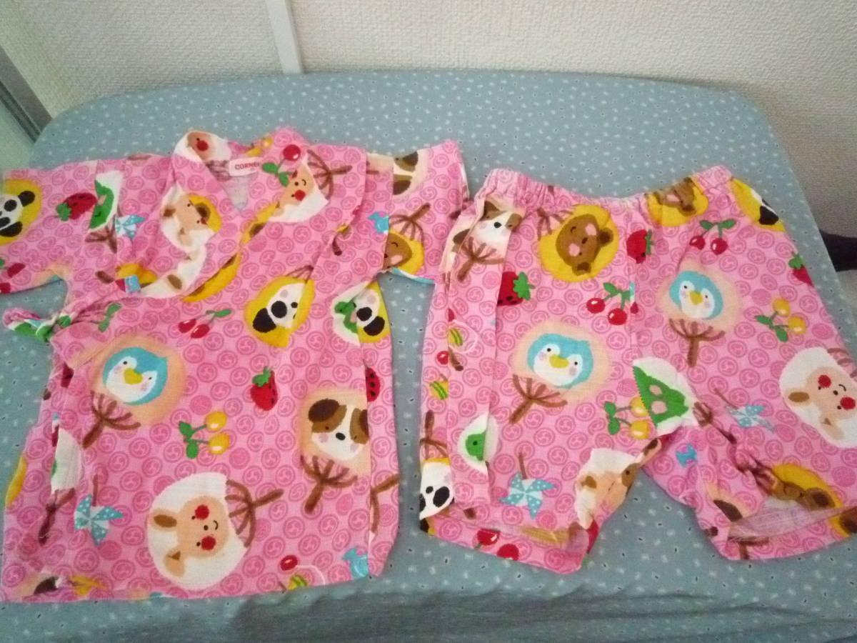★CORNEIUE 女の子甚平 くまさん パンダ ワンちゃん いちご ピンク系 サイズ95_画像1