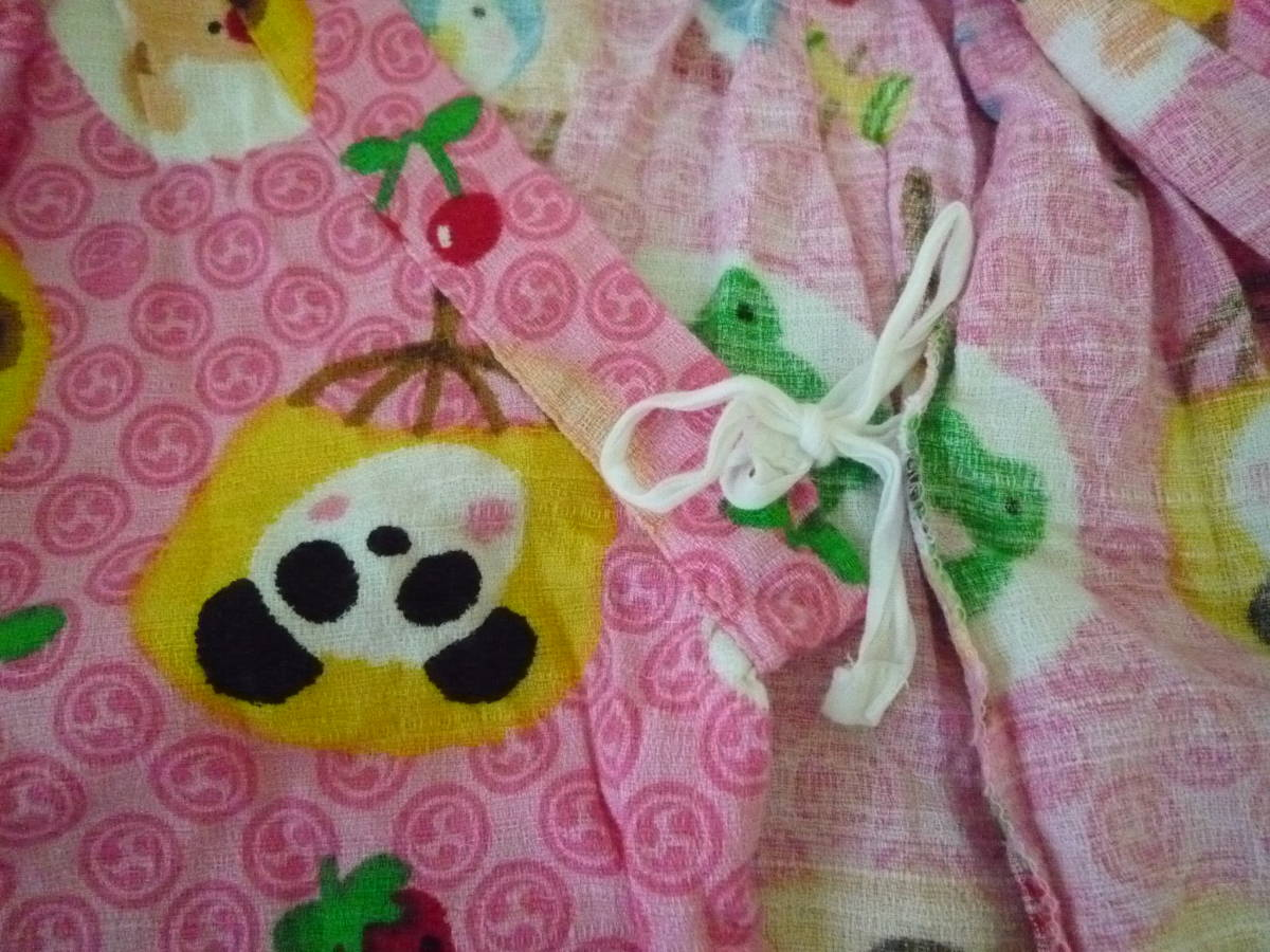 ★CORNEIUE 女の子甚平 くまさん パンダ ワンちゃん いちご ピンク系 サイズ95_画像6