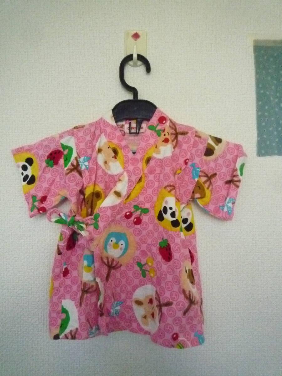 ★CORNEIUE 女の子甚平 くまさん パンダ ワンちゃん いちご ピンク系 サイズ95_画像2
