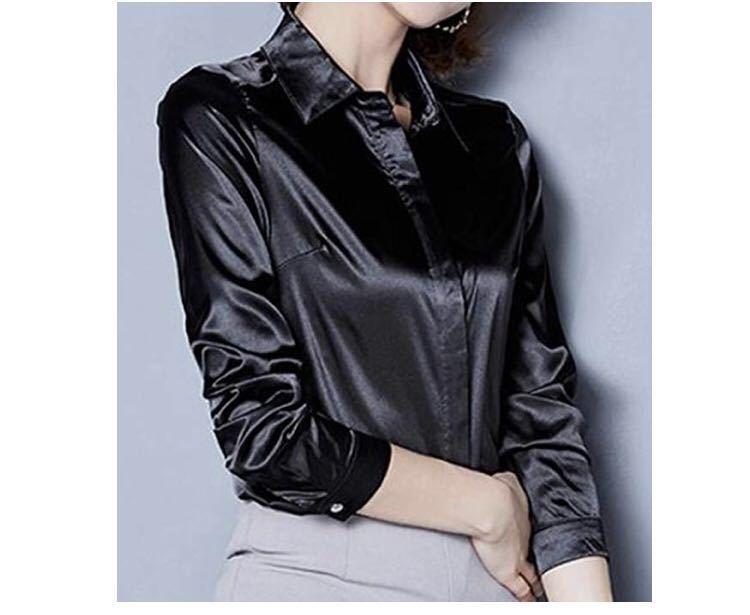 ブラウス シャツ サテン 長袖 上品 華やか 衣装 オフィス OL パーティ ピンク XL KIRITOA fabulous ファビュラス