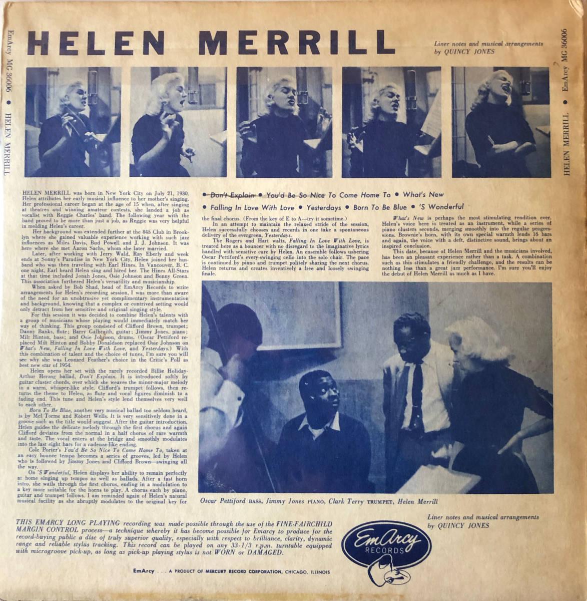 {終活}Helen Merrill / EmArcy MG36006 / 完オリ、青バック、銀冠、大ドラマー、盤美盤_画像2