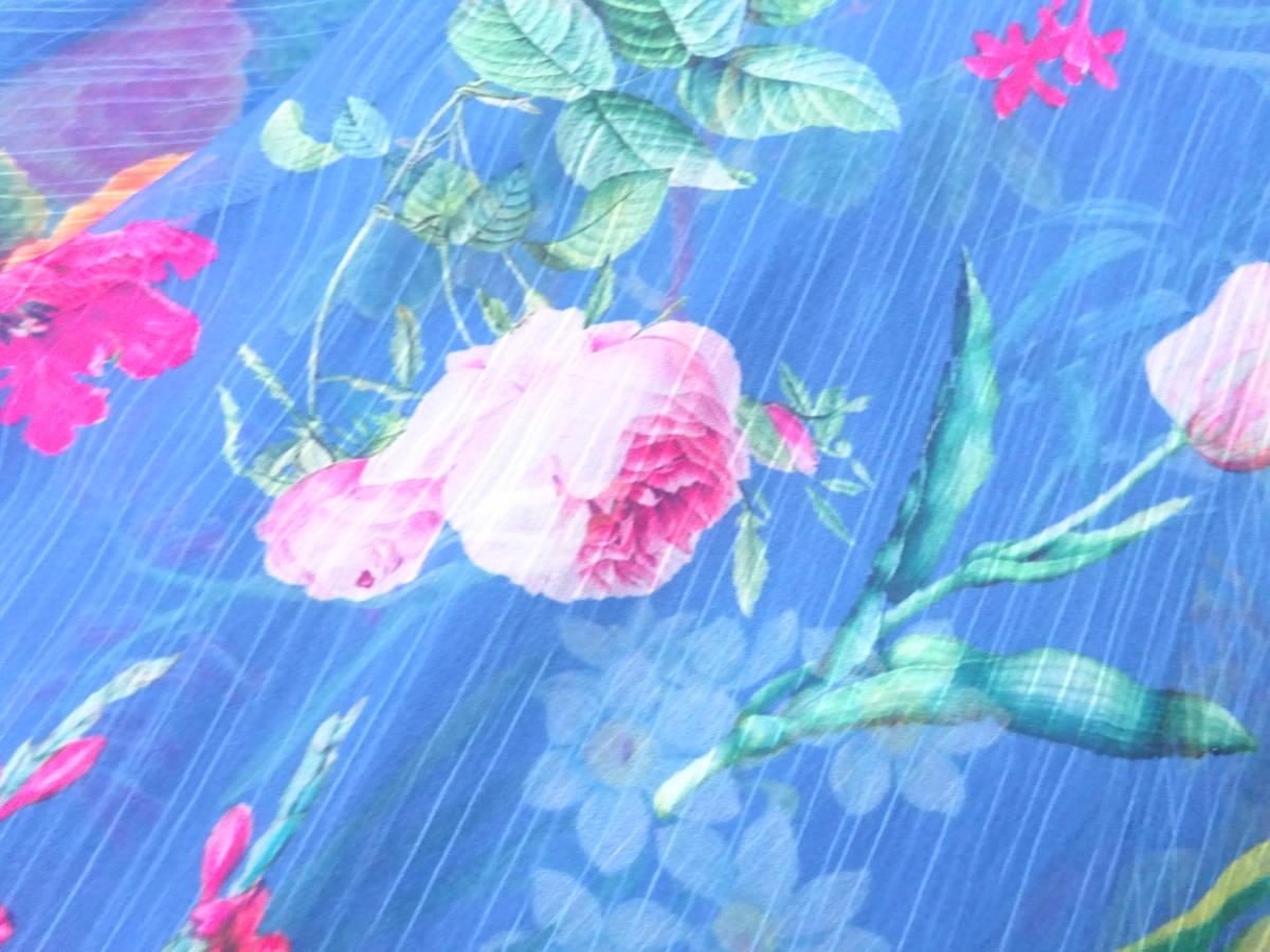 夏エレガント♪ 新作 TADASHI SHOJI タダシショージ フレアスカート ワンピース フラワー柄  楊柳シフォン ブルー系 新品 E053AM_画像8