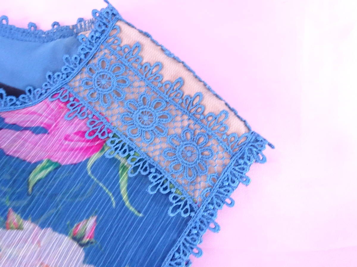 夏エレガント♪ 新作 TADASHI SHOJI タダシショージ フレアスカート ワンピース フラワー柄  楊柳シフォン ブルー系 新品 E053AM_画像9