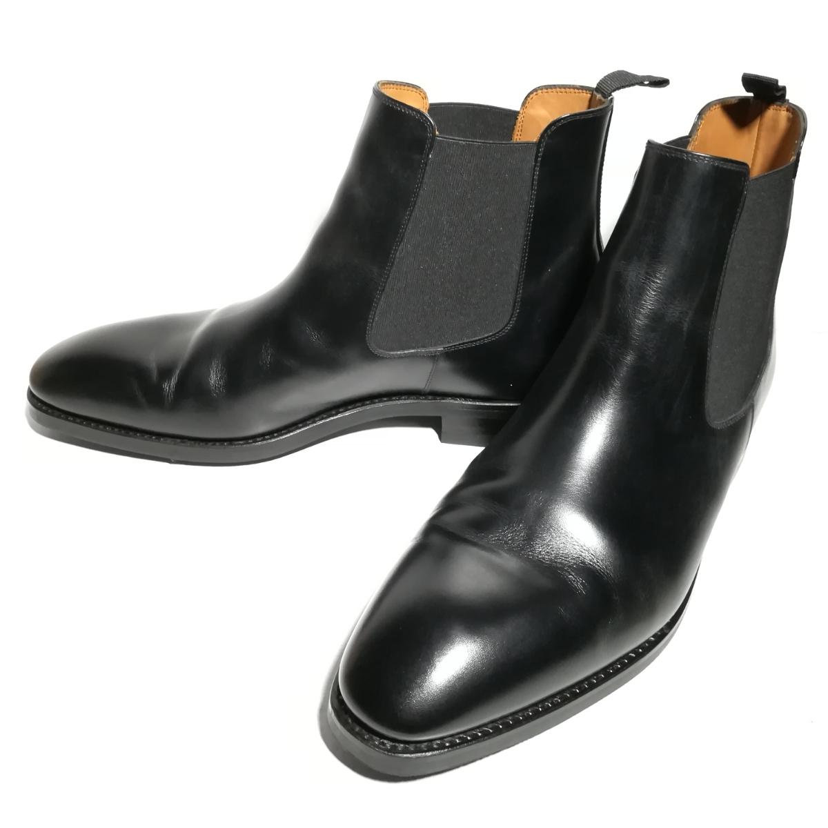 560 新品同様 ★ヤンコ YANKO★ サイドゴアブーツ 9 1/2 28.0cm 黒 ドレスシューズ 革靴_画像1