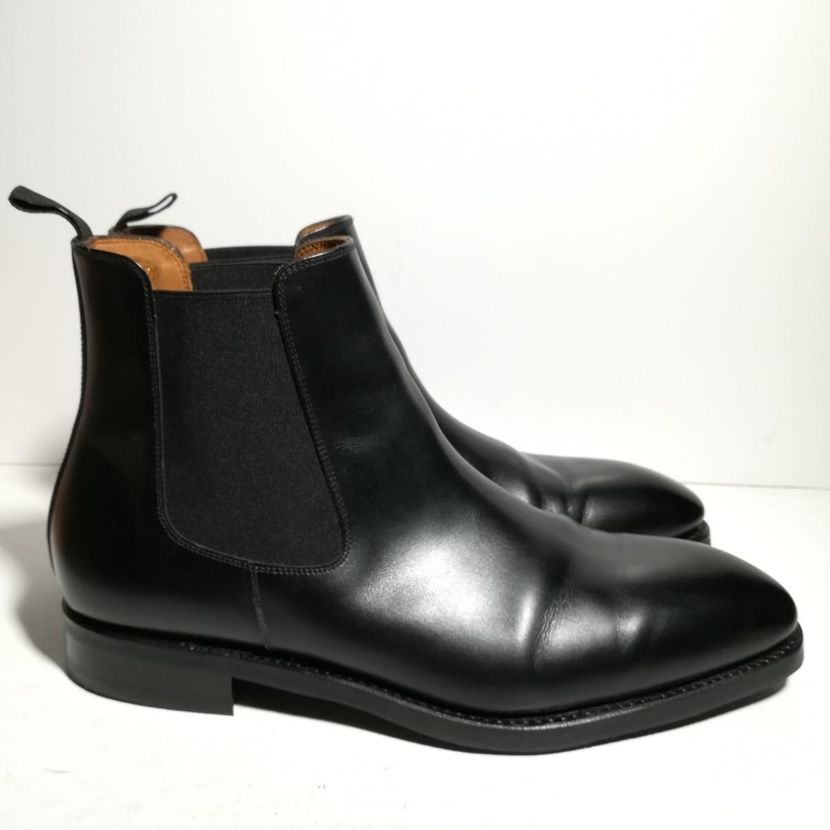 560 新品同様 ★ヤンコ YANKO★ サイドゴアブーツ 9 1/2 28.0cm 黒 ドレスシューズ 革靴_画像2