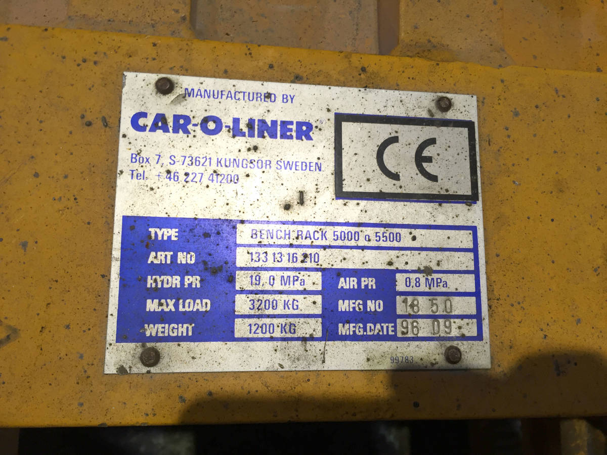 BA0418中古 ベンチ式フレーム修正機 イヤサカ カロライナ CAR-O-LINER ベンチラック5000 BenchRack5000-P(BR5000-P) ピット方式 自動車鈑金_画像8
