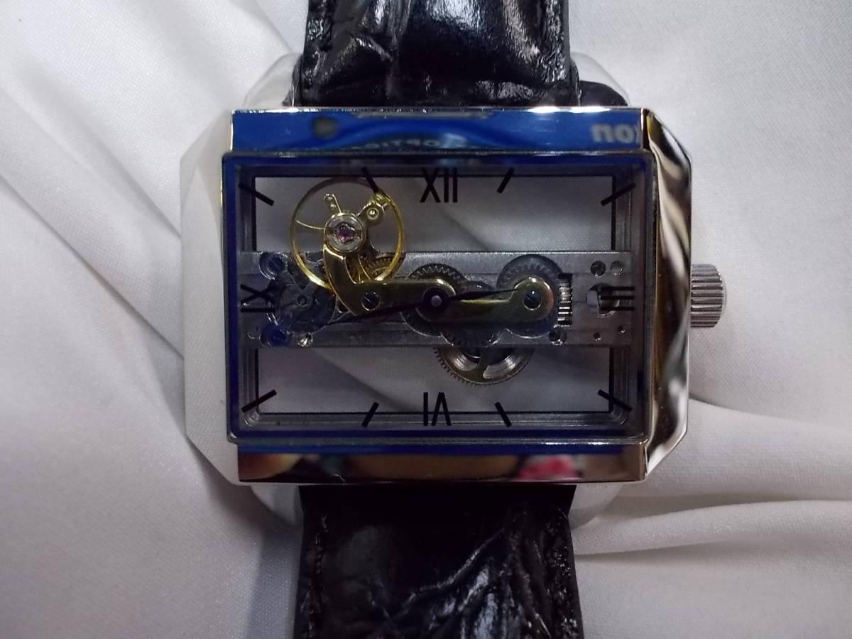 ◎a063 アルカフトゥーラ ARCA FUTURA 腕時計 機械式 手巻き スケルトン 美品 管03.11