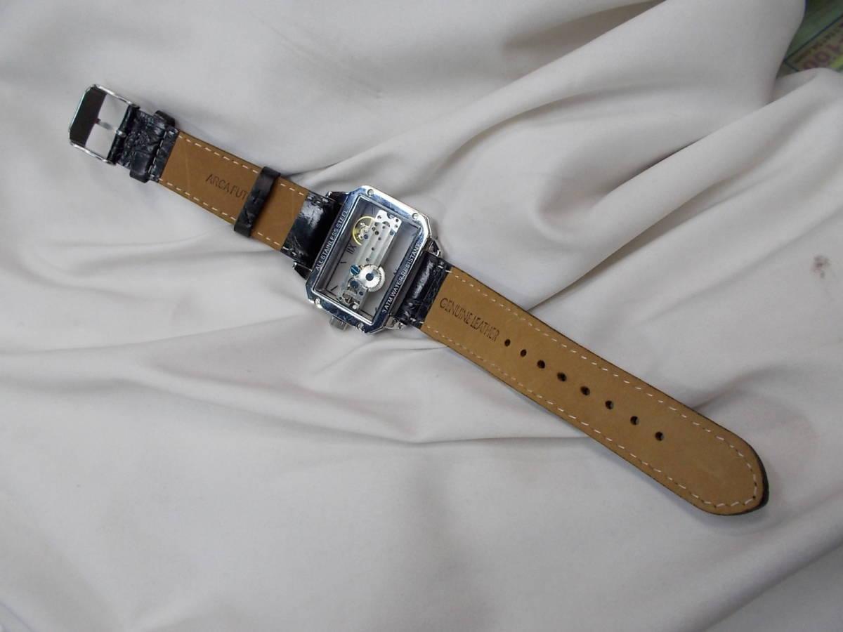 ◎a063 アルカフトゥーラ ARCA FUTURA 腕時計 機械式 手巻き スケルトン 美品 管03.11 _画像4