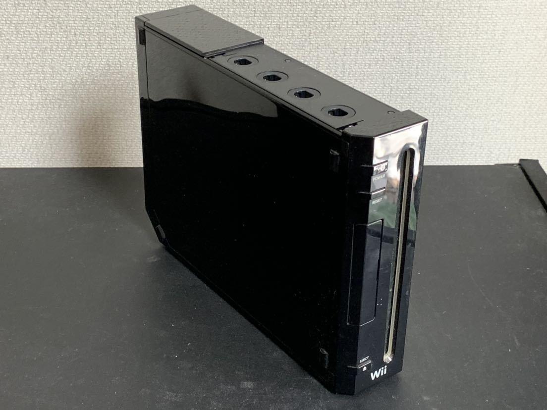 任天堂 Wii 黒(クロ) 本体 蓋なし ソフト1本内蔵 カラオケJOYSOUND Wii(Wiiウェア版) _画像4