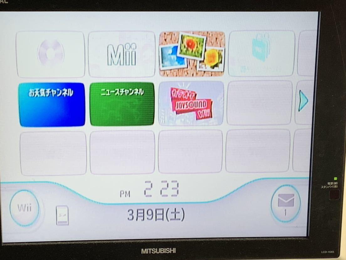 任天堂 Wii 黒(クロ) 本体 蓋なし ソフト1本内蔵 カラオケJOYSOUND Wii(Wiiウェア版) _画像2