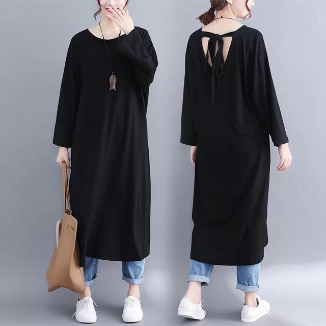 ロング丈ワンピース シンプルデザイン ブラック 7分丈袖 大きいサイズ