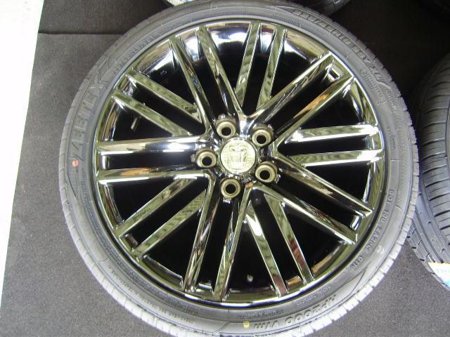 210 クラウンアスリート 18インチ 希少ブラックスパッタリング 225/45R18 新品タイヤ付き 4本セット ブラックスタイル_画像4
