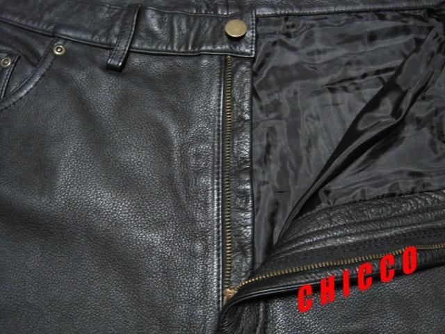 即決★美品★B&T CLUB メンズ W110cm 黒★大きいサイズ 本革 牛革 レザー パンツ ブラック ライダース ライディング パンツ パンク ロック_画像5