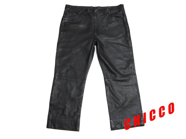 即決★美品★B&T CLUB メンズ W110cm 黒★大きいサイズ 本革 牛革 レザー パンツ ブラック ライダース ライディング パンツ パンク ロック_画像2