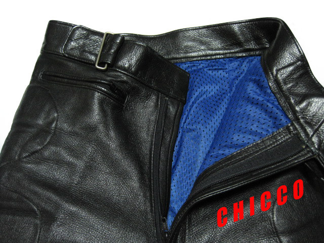 即決★N.B. メンズ 72cm~ 黒★本革 レザーパンツ ライダースパンツ ライディングパンツ ブラック 腰・膝パッド入 ノーブランド バイク S M_画像5