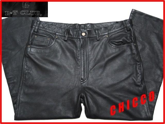 即決★美品★B&T CLUB メンズ W110cm 黒★大きいサイズ 本革 牛革 レザー パンツ ブラック ライダース ライディング パンツ パンク ロック_画像1