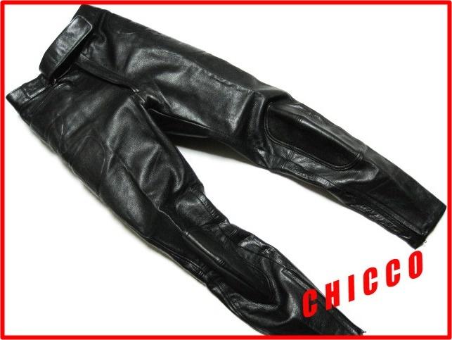 即決★N.B. メンズ 72cm~ 黒★本革 レザーパンツ ライダースパンツ ライディングパンツ ブラック 腰・膝パッド入 ノーブランド バイク S M_画像1