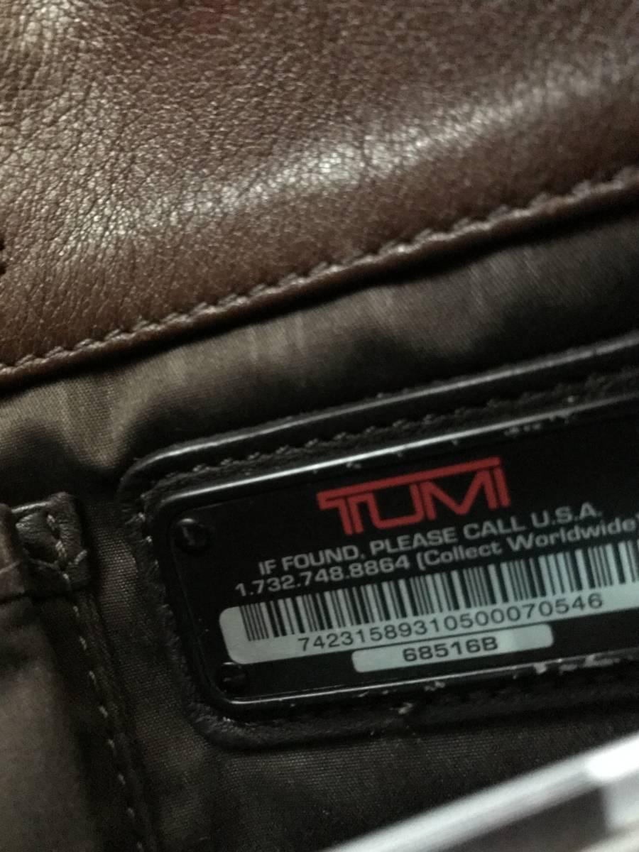 TUMI トゥミ メンズ ビジネスバック  ブランチ・スリム・ラップトップ・ブリーフ 68516B ブラウン  茶色  グレインレザー  本革_画像2
