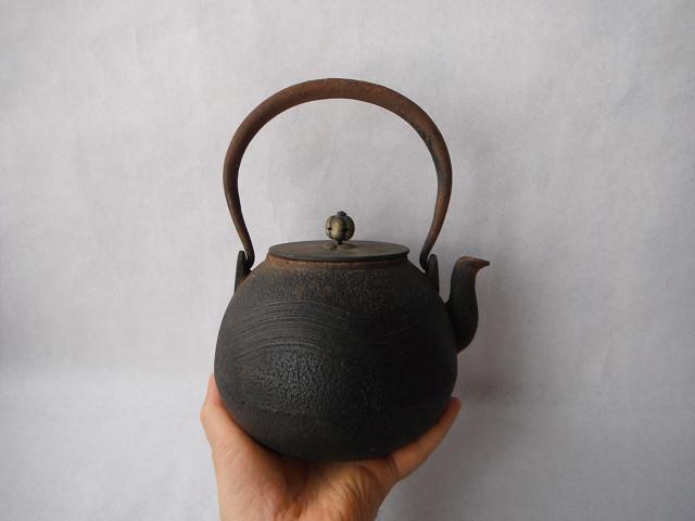 古い煎茶道具★古作鉄瓶 龍文堂造 銅蓋 刷毛目★