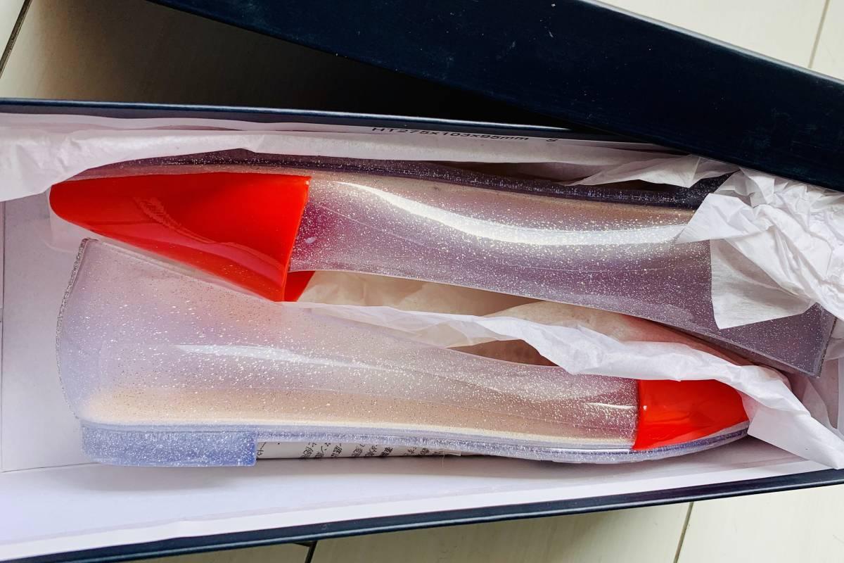 【新品未使用】アダムエロペ バレエシューズ ぺたんこ パンプス ラバー シューズ 雨の日でも足下はおしゃれに フラット 36 23 6 _画像3