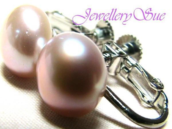 可愛いで綺麗ですよ!天然淡水真珠/サクラピンクパールイヤリング♪9mm