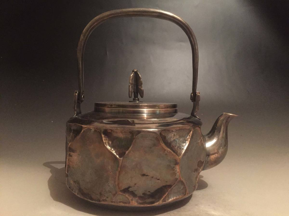 純銀製 竹影堂榮真作 ひしぎ湯沸 矢之摘 銀瓶 煎茶道具