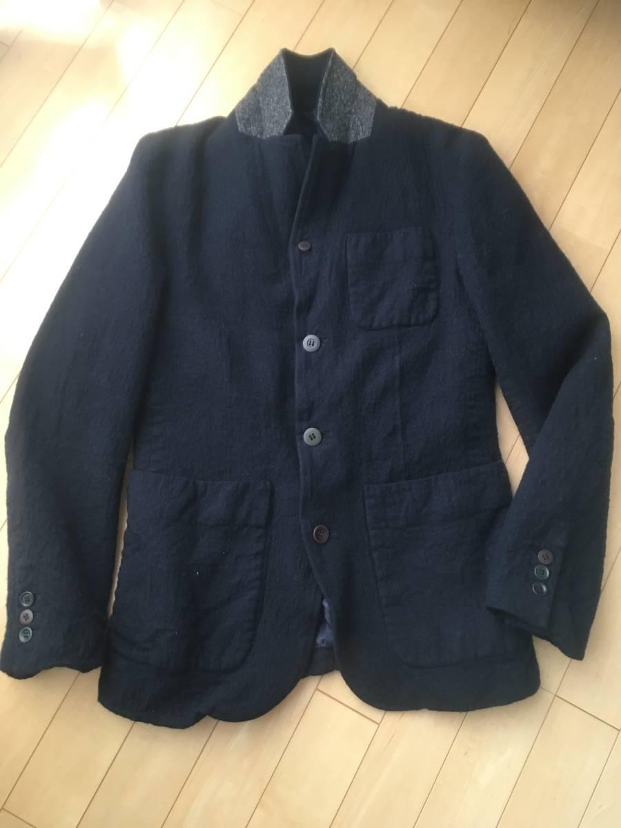 希少アンダーカバー13AWマルチボタン襟切り替え縮絨ウールジャケットコート袖レザーダウンライダースアーミーブルゾンゴアテックスscab but