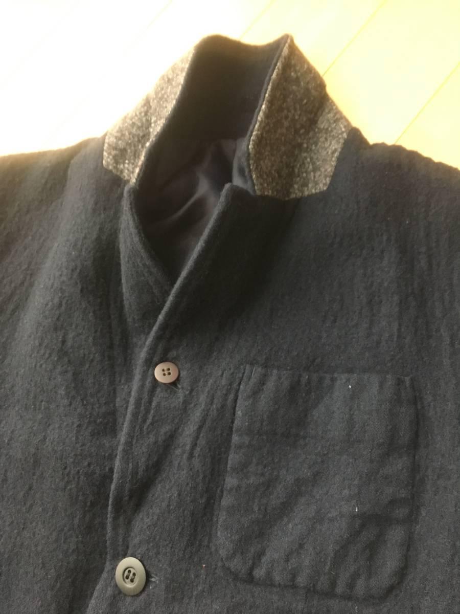 希少アンダーカバー13AWマルチボタン襟切り替え縮絨ウールジャケットコート袖レザーダウンライダースアーミーブルゾンゴアテックスscab but_画像2