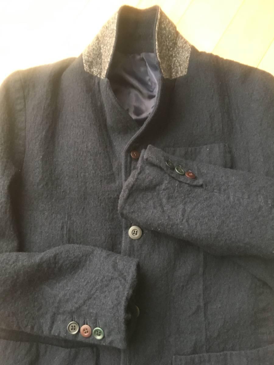 希少アンダーカバー13AWマルチボタン襟切り替え縮絨ウールジャケットコート袖レザーダウンライダースアーミーブルゾンゴアテックスscab but_画像3