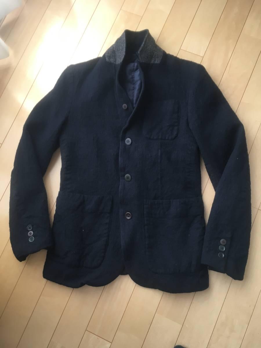 希少アンダーカバー13AWマルチボタン襟切り替え縮絨ウールジャケットコート袖レザーダウンライダースアーミーブルゾンゴアテックスscab but_画像4