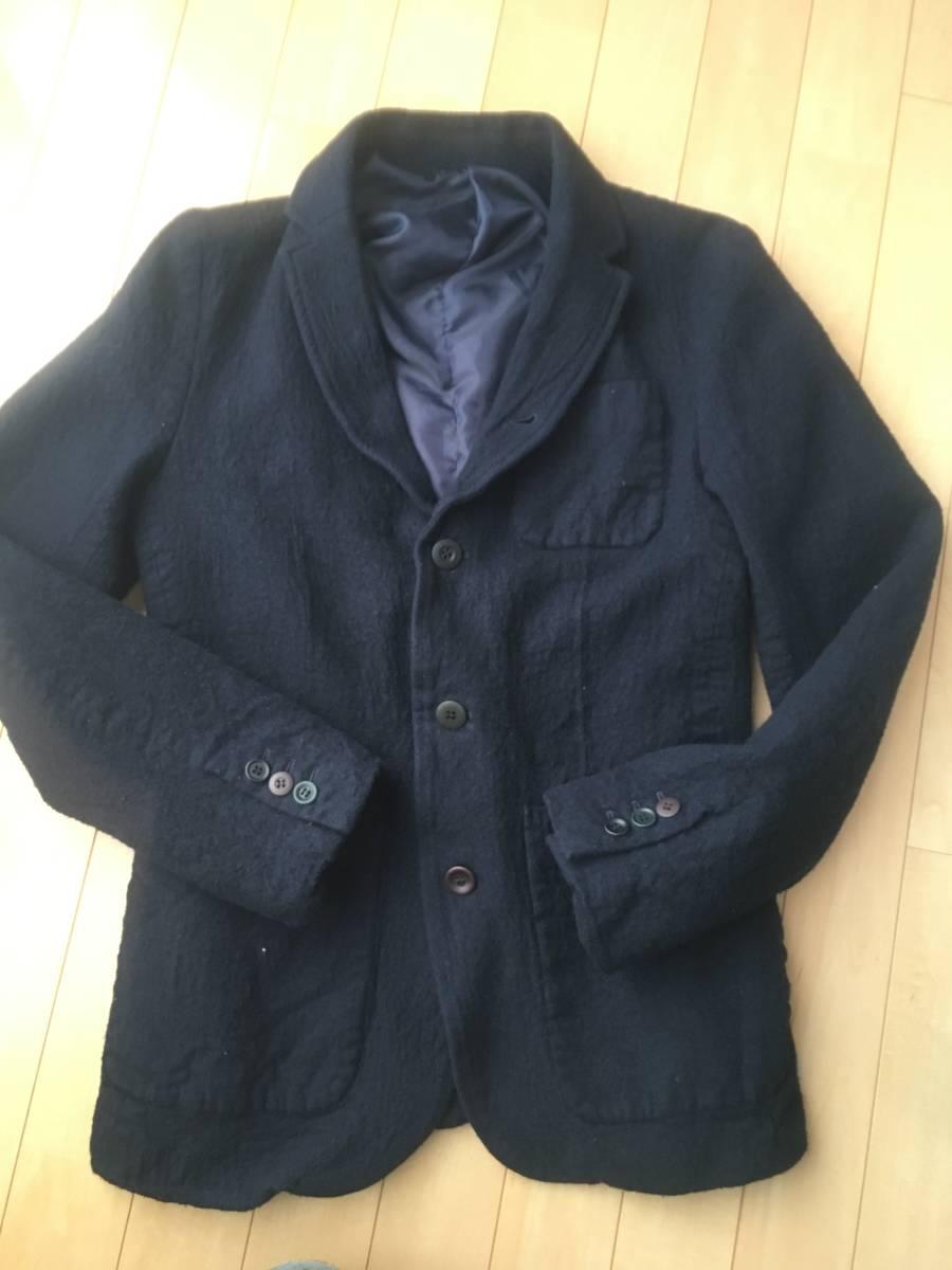 希少アンダーカバー13AWマルチボタン襟切り替え縮絨ウールジャケットコート袖レザーダウンライダースアーミーブルゾンゴアテックスscab but_画像5