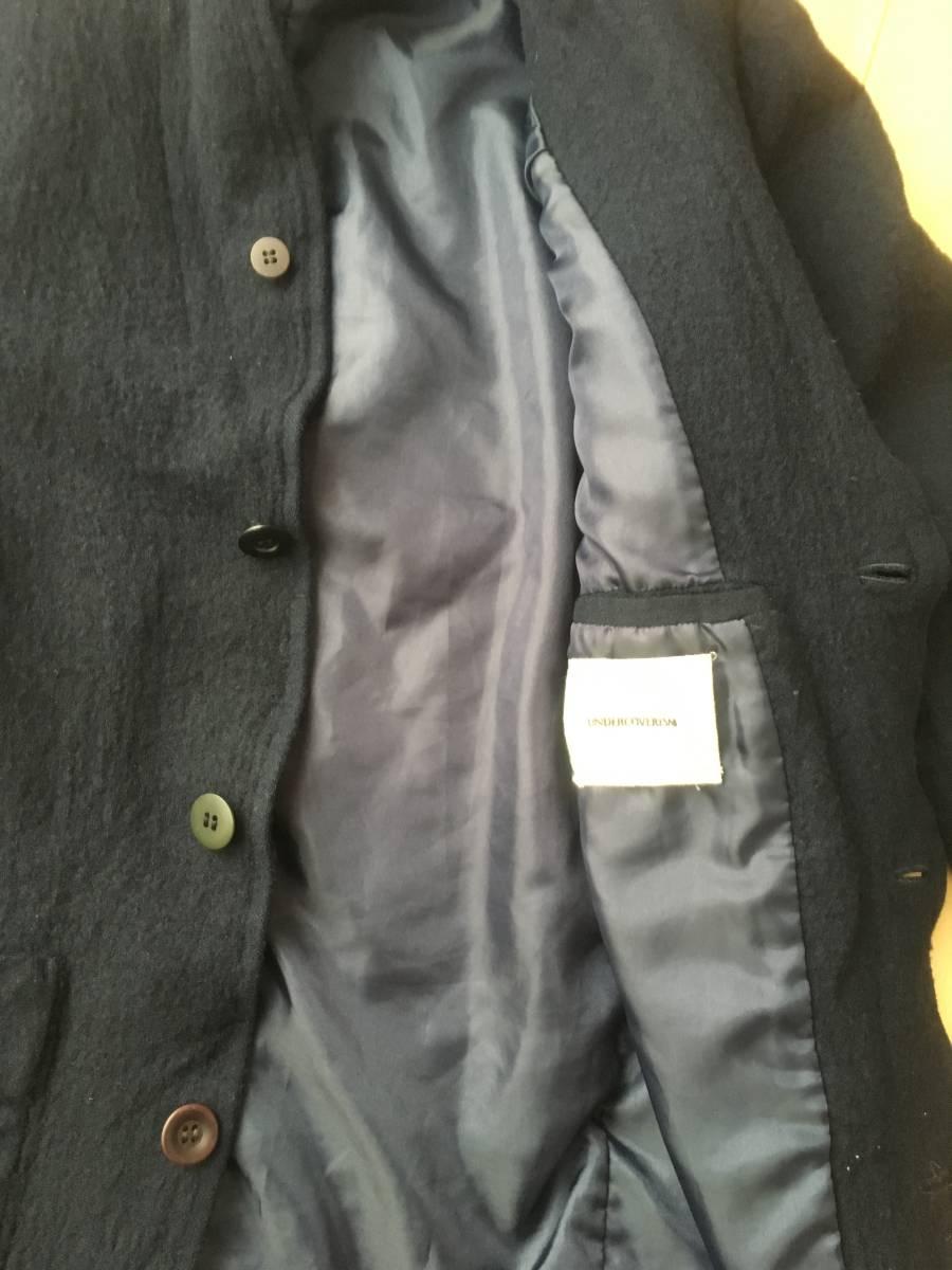 希少アンダーカバー13AWマルチボタン襟切り替え縮絨ウールジャケットコート袖レザーダウンライダースアーミーブルゾンゴアテックスscab but_画像7