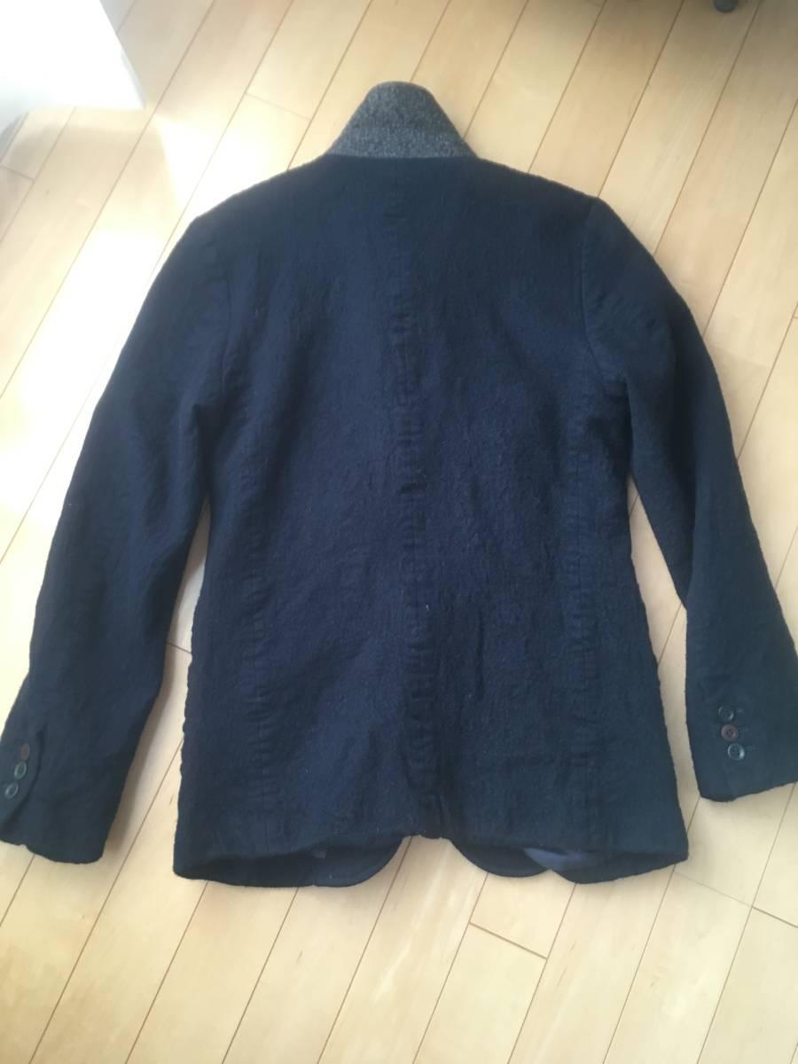 希少アンダーカバー13AWマルチボタン襟切り替え縮絨ウールジャケットコート袖レザーダウンライダースアーミーブルゾンゴアテックスscab but_画像10