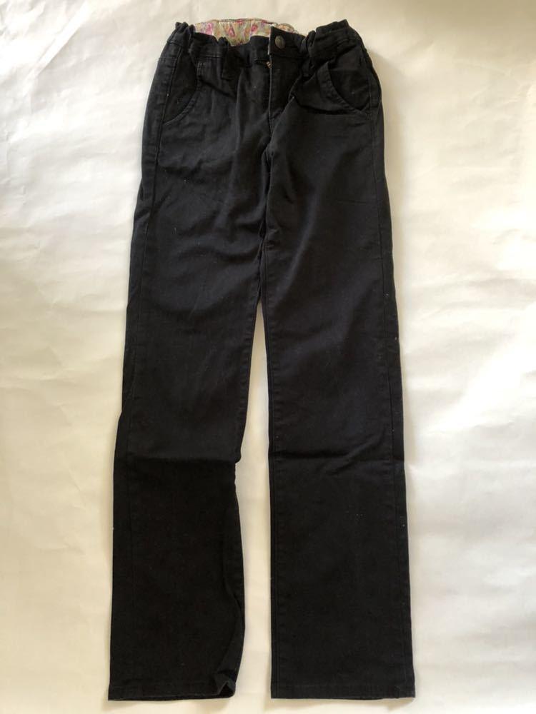 ジーンズ 女の子 140cm ユニクロ 黒 ブラック 美品 キッズ ジーパン レギンスパンツ UNIQLO_画像1