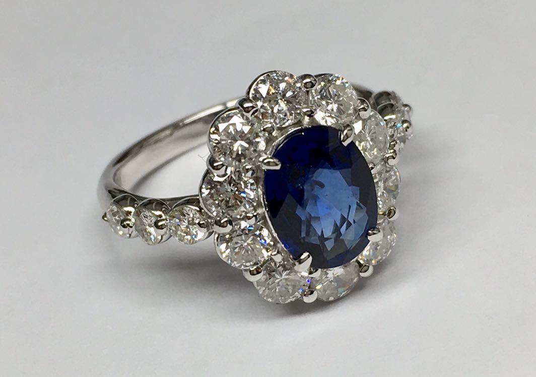 ◆綺麗 天然サファイア 1.87ct ダイヤモンド 高級リング 1.67ct/Pt900 CGL ソーティング付◆_画像5