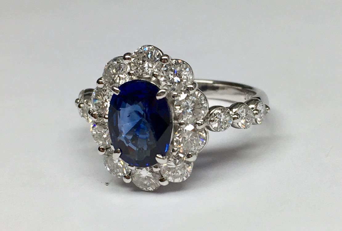 ◆綺麗 天然サファイア 1.87ct ダイヤモンド 高級リング 1.67ct/Pt900 CGL ソーティング付◆_画像7