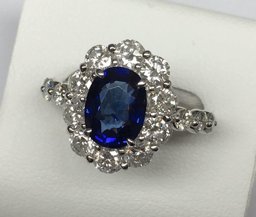 ◆綺麗 天然サファイア 1.87ct ダイヤモンド 高級リング 1.67ct/Pt900 CGL ソーティング付◆_画像1
