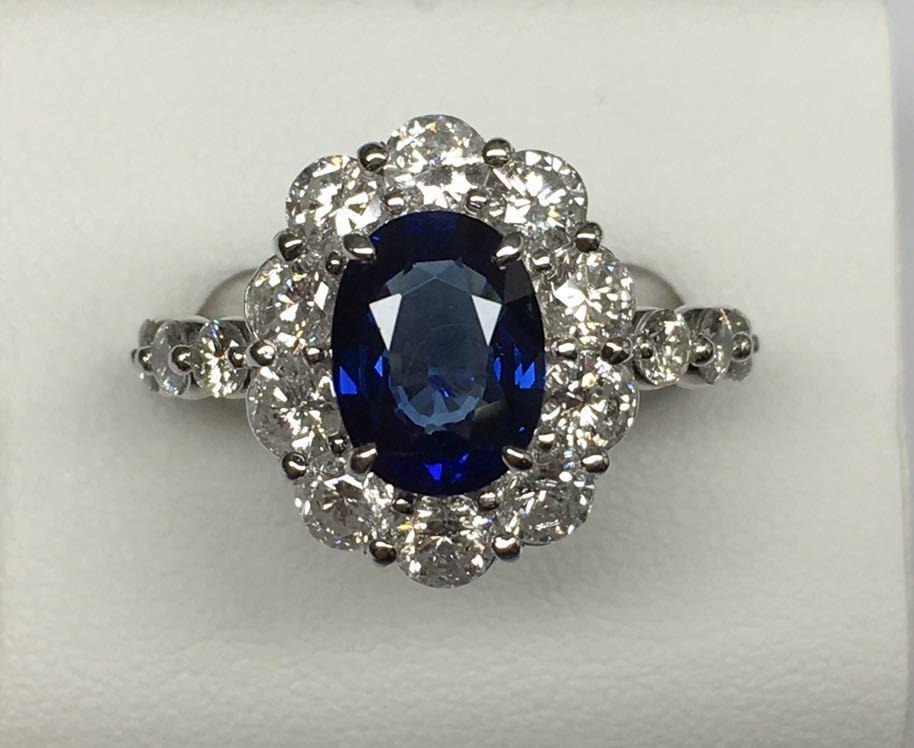 ◆綺麗 天然サファイア 1.87ct ダイヤモンド 高級リング 1.67ct/Pt900 CGL ソーティング付◆_画像2