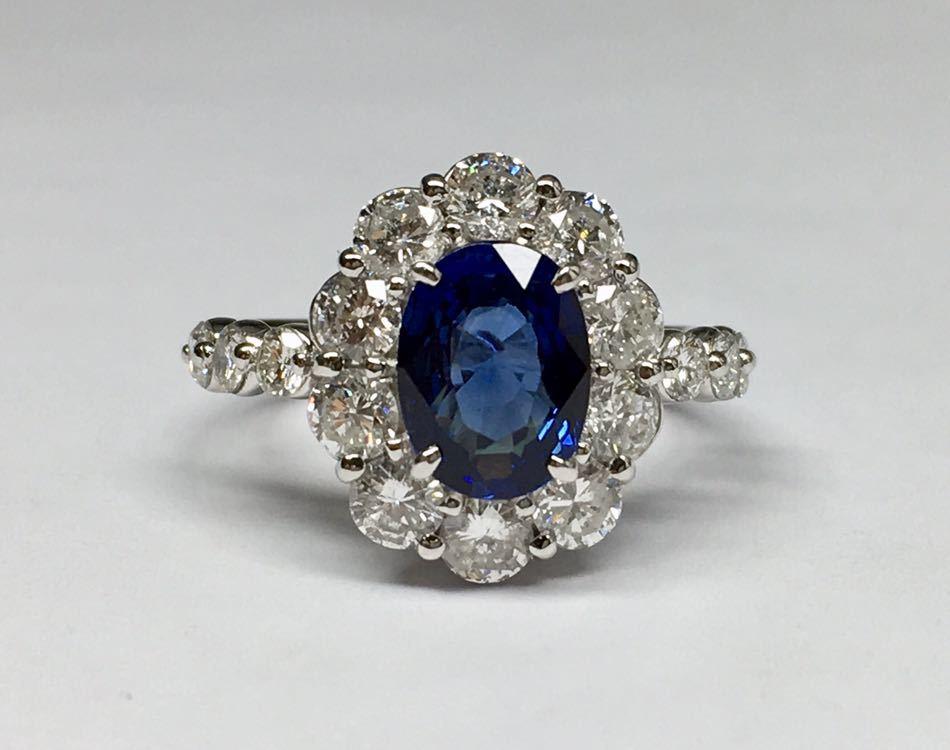 ◆綺麗 天然サファイア 1.87ct ダイヤモンド 高級リング 1.67ct/Pt900 CGL ソーティング付◆_画像6