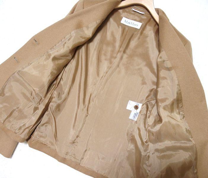 ♪至福の素材纏う 美品 イタリア製 MAX MARA マックスマーラ 最高級キャメルへアー100% 2Bテーラードジャケット 最高峰白タグ 42♪_画像4
