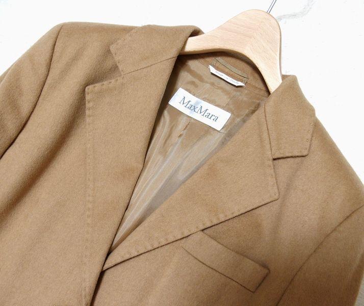♪至福の素材纏う 美品 イタリア製 MAX MARA マックスマーラ 最高級キャメルへアー100% 2Bテーラードジャケット 最高峰白タグ 42♪_画像3