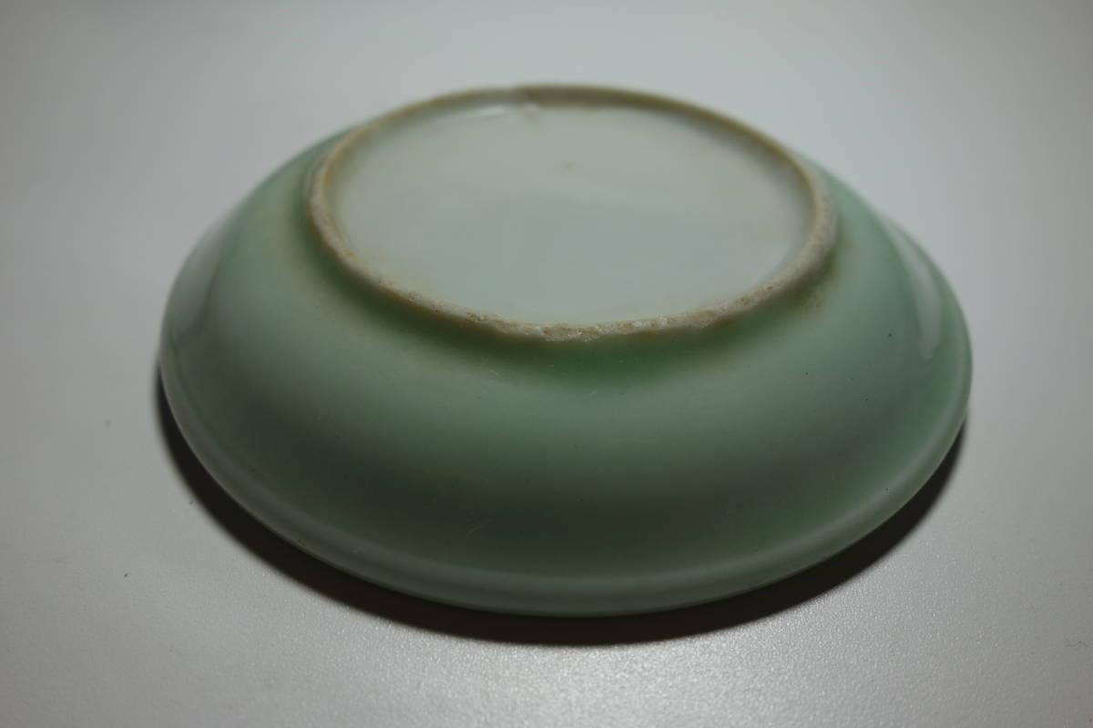 清朝末期(中華民国初期) 青磁 宋朝官窯茶豆皿写し 一枚_画像3