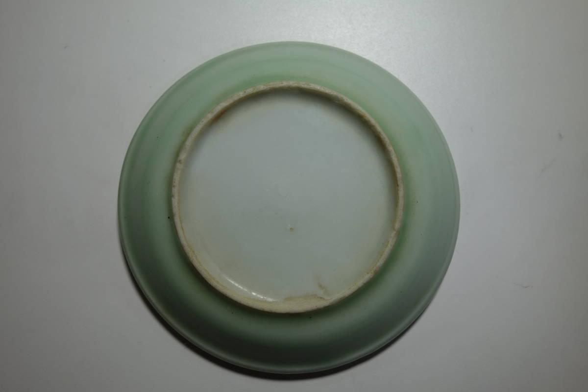 清朝末期(中華民国初期) 青磁 宋朝官窯茶豆皿写し 一枚_画像6