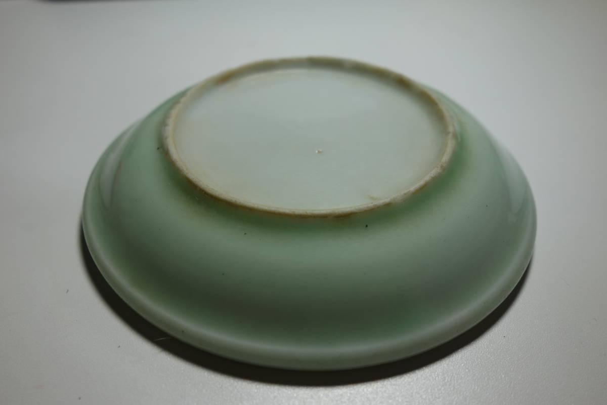 清朝末期(中華民国初期) 青磁 宋朝官窯茶豆皿写し 一枚_画像7