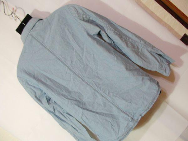 ssy417 GLIKSILVER メンズ 長袖 シャツ ライトブルー ■ カジュアル ■ 胸ポケット 肩に刺繍 無地 綿100% Mサイズ_画像10
